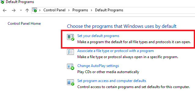 Set your Default Program
