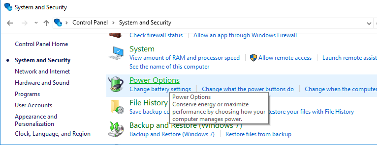 Power Options - Windows 10- Fix Dead USB Port