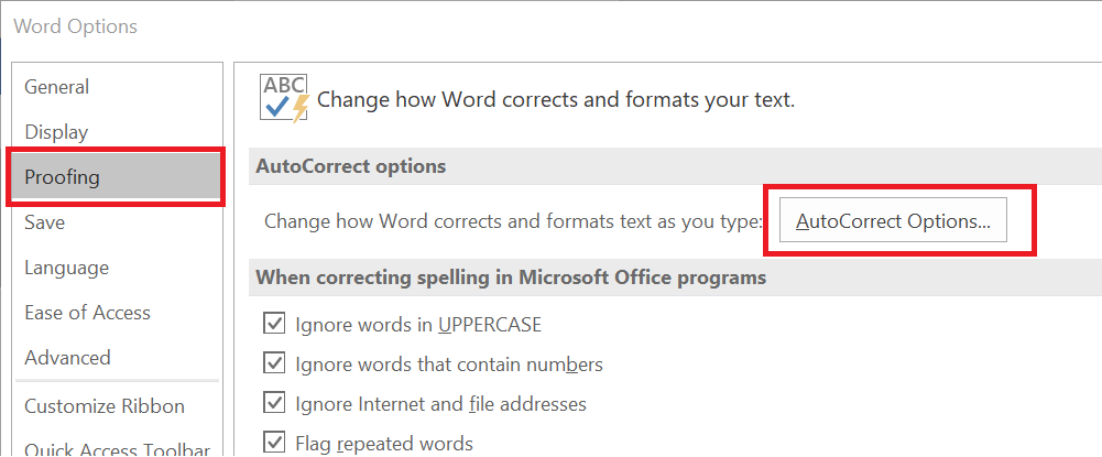 Microsoft word Options - Proofing