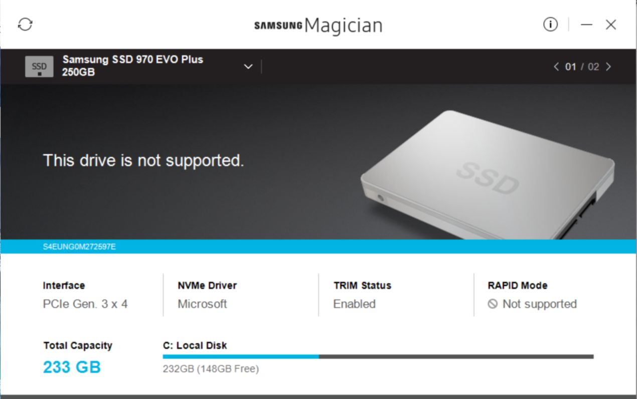 Fix Samsung EVO SSD This drive is not supported Magician Software